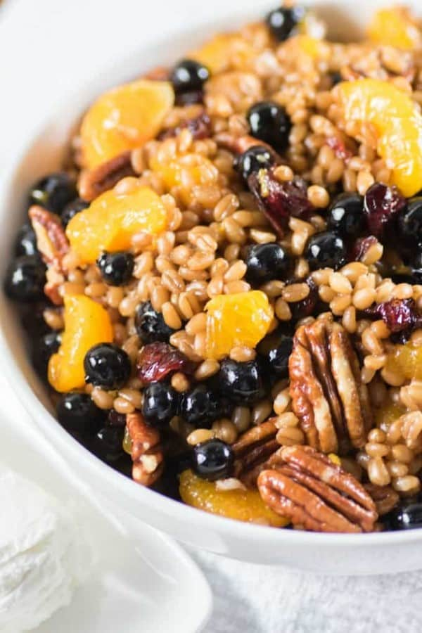 Wheat Berry Salad in a white bowl