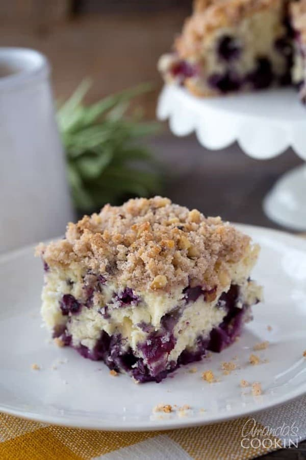 Blueberry Breakfast Cake on a white plate