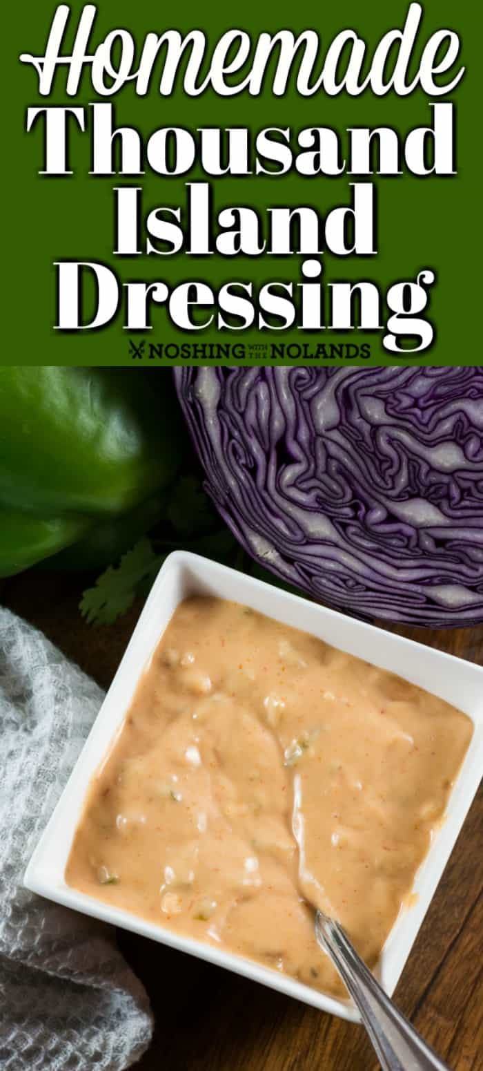 Homemade Thousand Island Dressing is so easy to make and is great on a salad, Reuben sandwich or burger. #thousandislanddressing #salad #burger