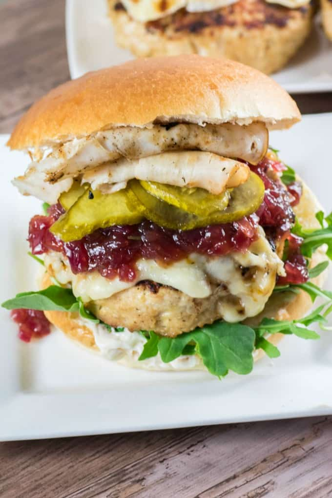 Giant Juicy Turkey Burger on a white plate