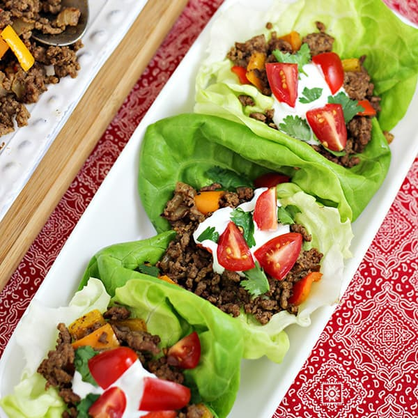MEXICAN BEEF TACO LETTUCE WRAPS RECIPE on a white platter