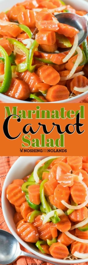 This Marinated Carrot Salad is the perfect portable side for all your summer gatherings. A nice retro dish that I loved growing up!! #carrots #salad #carrotsalad