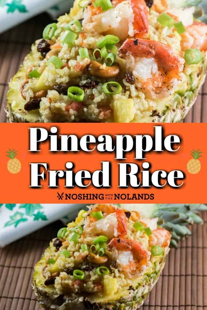Pineapple Fried Rice can be served up in a pineapple to make is a fancy dish for entertaining family and friends. It is an amazing selections of flavors to tempt your taste buds!! #pineapple #friedrice #curry