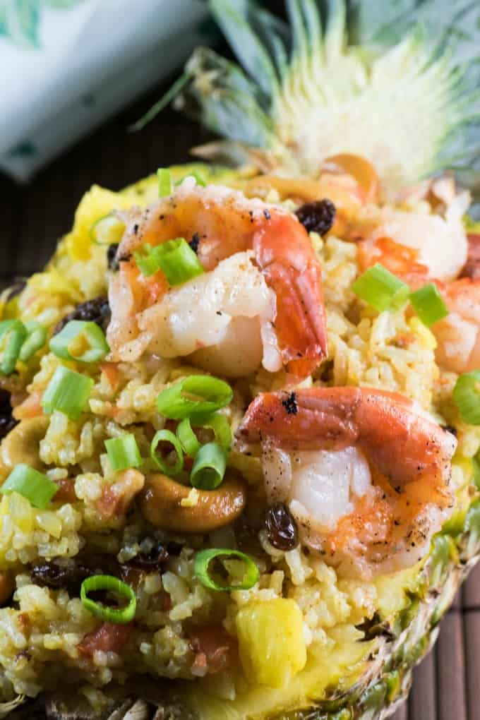 Close up of shrimp in the fried rice