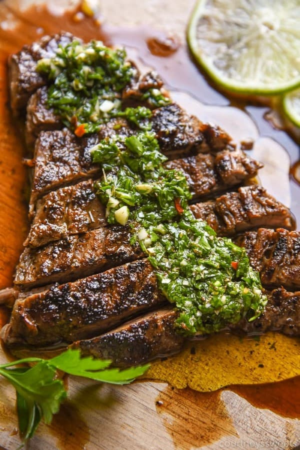 CHIMICHURRI STEAK sliced on a cutting board