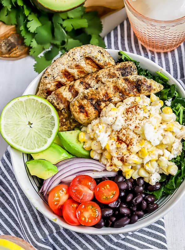MEXICAN STREET CORN CHICKEN SALAD  in a white bowl