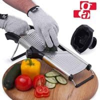 GA Mandoline Slicer – Adjustable Mandolin Vegetable Slicer and French Fry Cutter, Food Slicer, Vegetable Julienne – Thick Sharp Stainless Steel Blades – Cut-Resistant Gloves and Food Holder
