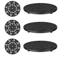 Trademark Innovations Set of 3 Decorative Cast Iron Metal Trivets (Black)