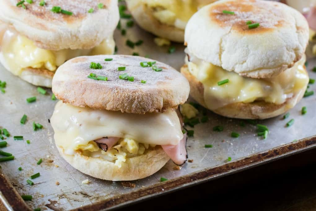 Cordon Bleu Breakfast Sandwich with Dijon Cream Sauce on a baking tray