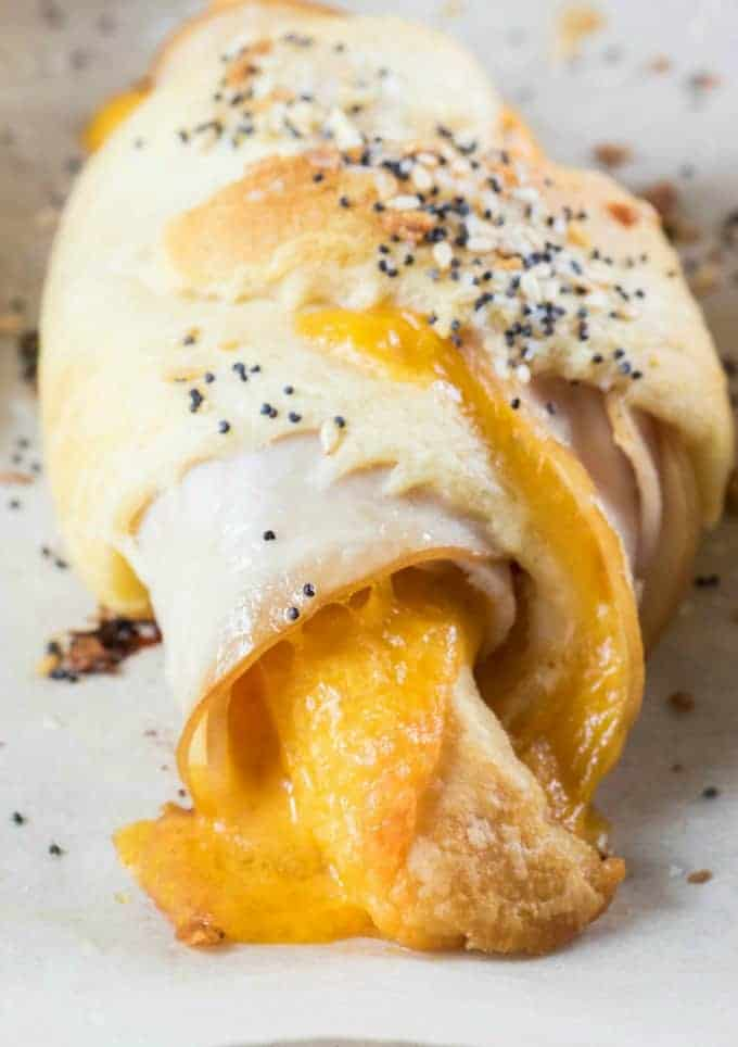Close up of a Everything Bagel Turkey Cheddar Crescent Roll