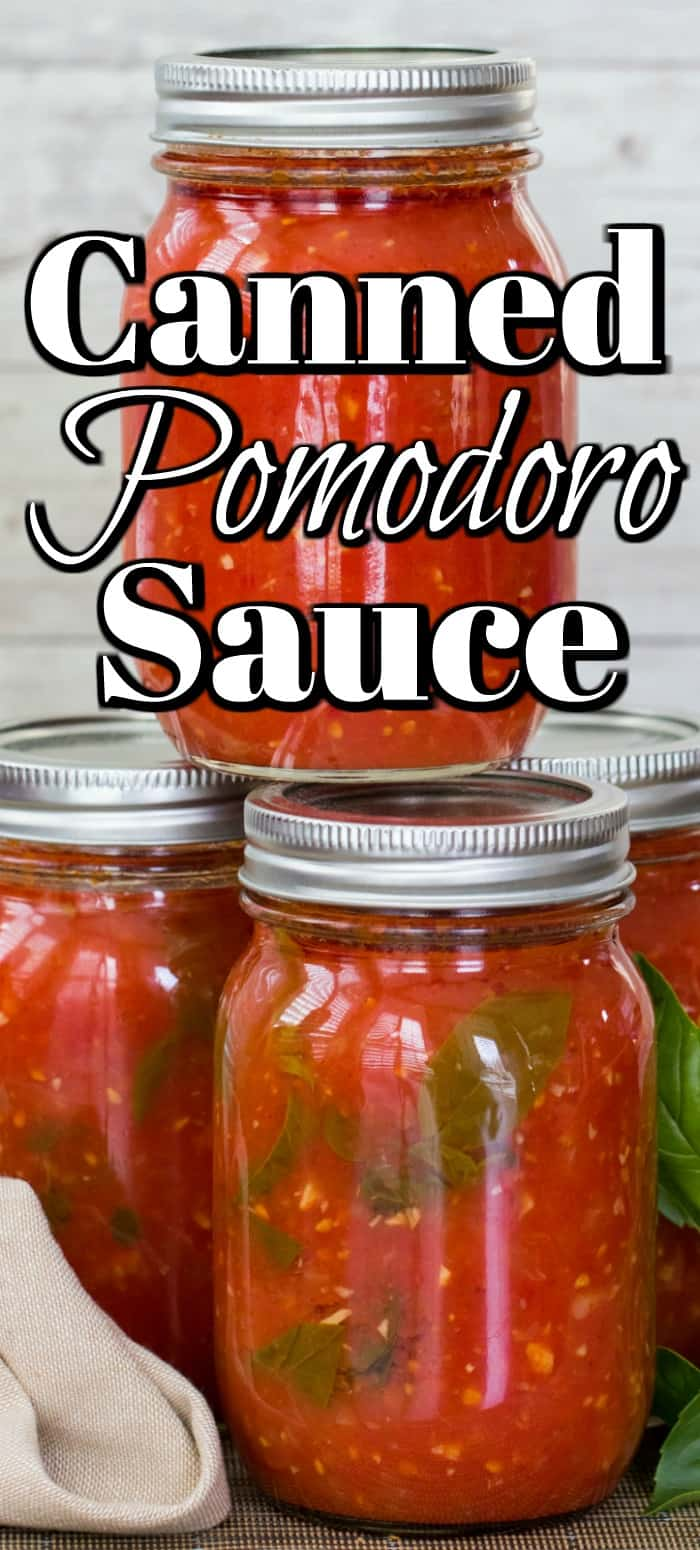 This easy Canned Pomodoro Sauce will sure come in handy all winter long and is so much better then store bought!! #pomodoro #tomatosauce #Italian