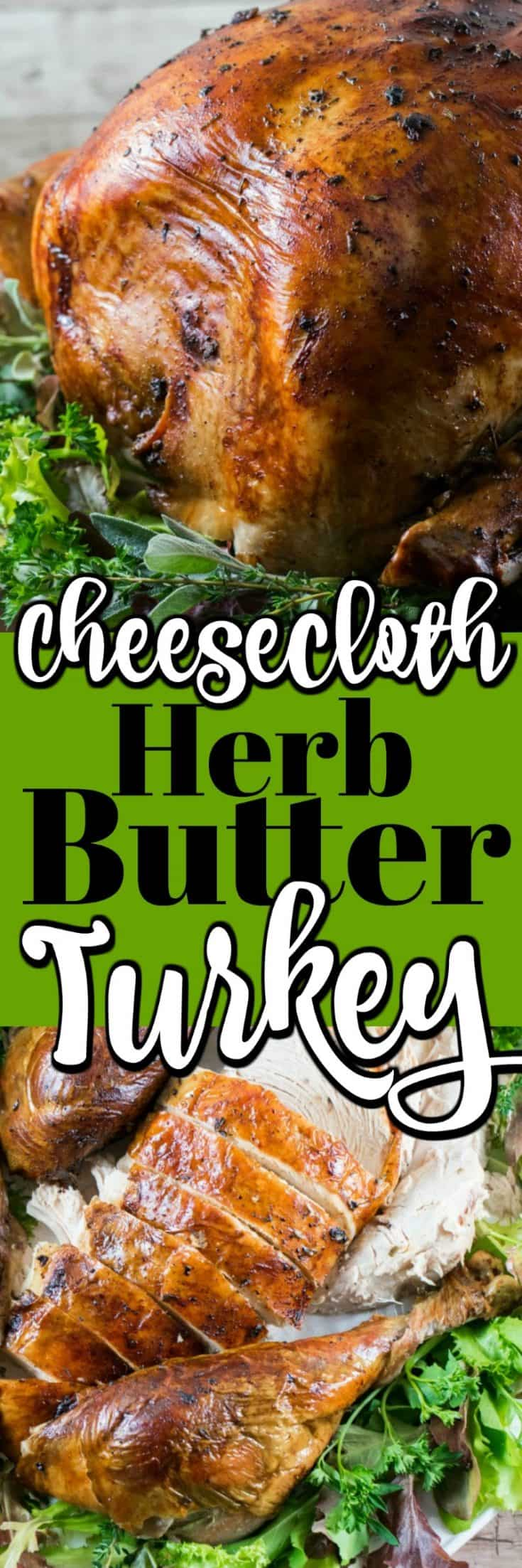 This Cheesecloth Herb Butter Turkey is perfect for the holidays!! You couldn't get a nicer roast!! #turkey #CdnTurkeyMonth #cheesecloth #herbbutter