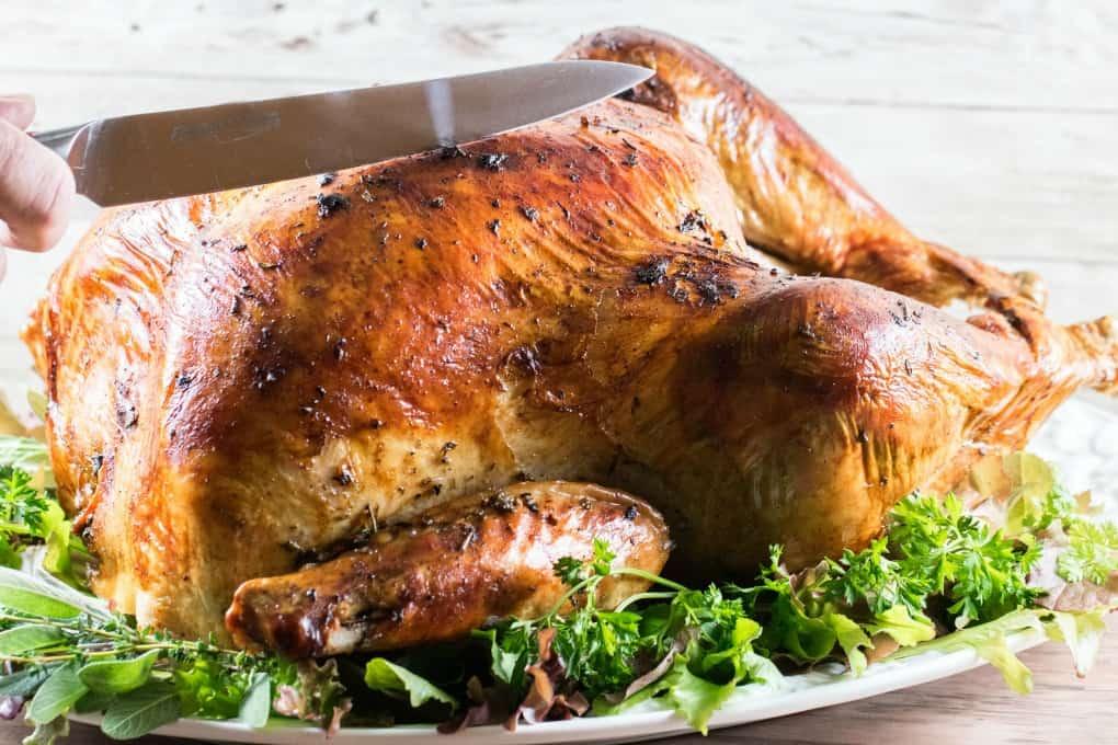 About to slice a roast turkey on a platter