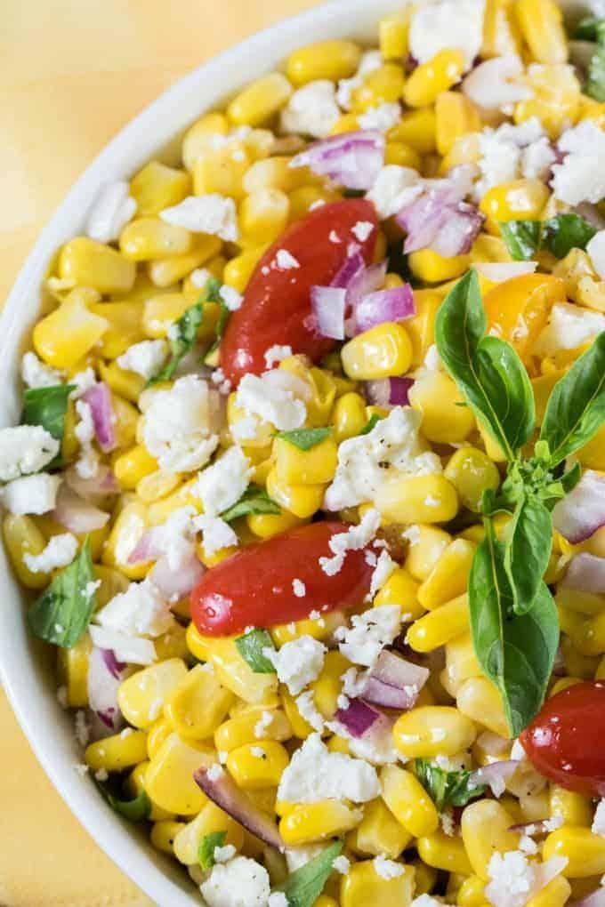Cotija Corn Salad Recipe in a white bowl