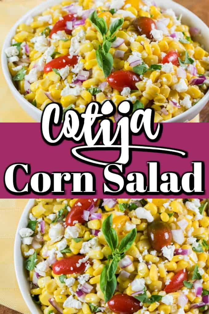 This Cotija Corn Salad is bursting with fresh corn flavor and is a gorgeous summer side dish!! #cornsalad #cotija #summersalad