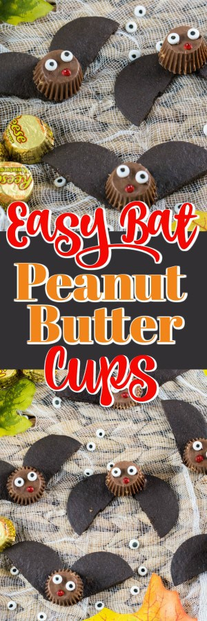 These adorable Easy Bat Peanut Butter Cups are quick to make as an edible craft that the whole family can enjoy!! #bats #treats #Halloween