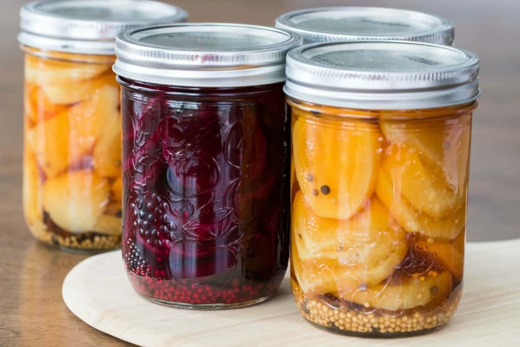 Jar of pickled beets