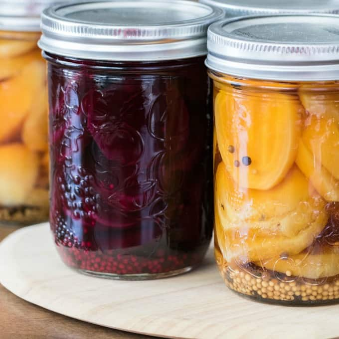 Close up jars of pickled beets
