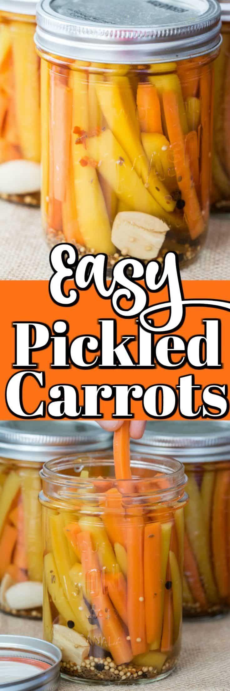 Easy Pickled Carrots are perfect as a side for lunch, make a great snack, are wonderful served along with a charcuterie and even make a great hostess gift!! #pickledcarrots #canning #carrots