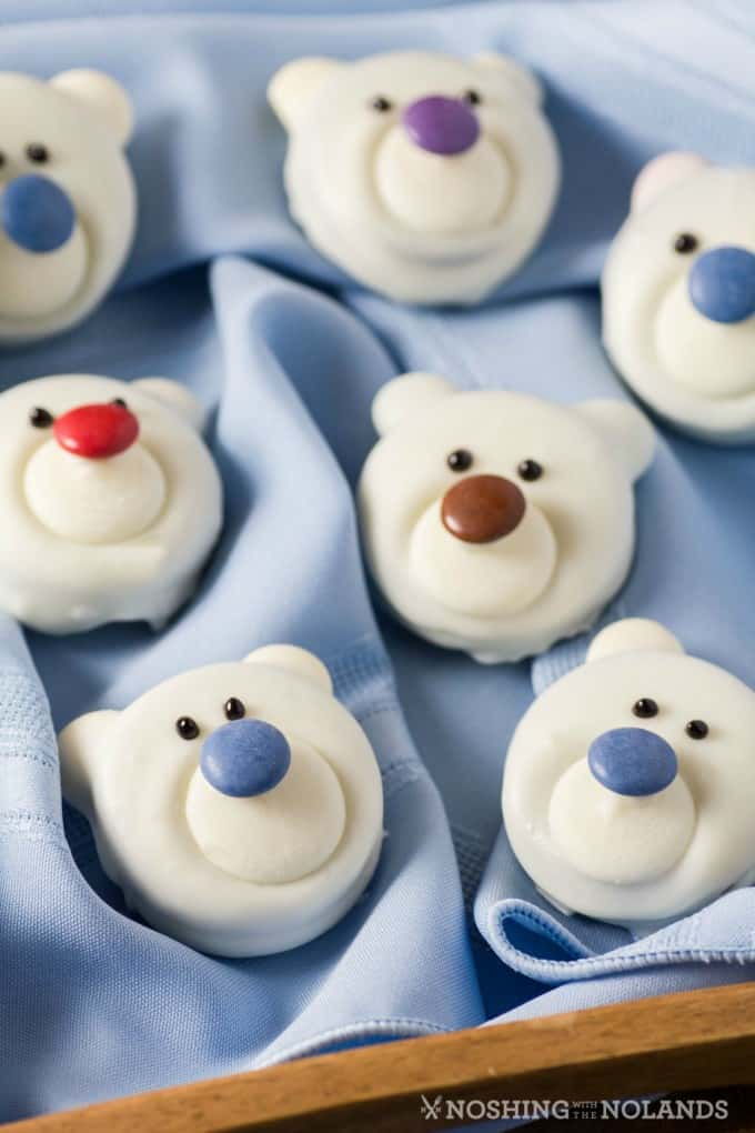 Polar Bear Cookies on a pale blue napkin on a tray