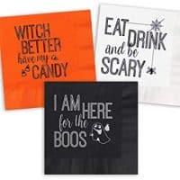 Spooktacular Halloween Beverage Cocktail Napkins - Set of 30 assorted paper napkins with foil designs