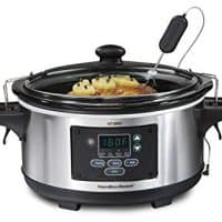 Hamilton Beach 6-Quart Slow Cooker, Programmable, Set & Forget with Temperature Probe, Transport Clips, Sealing Lid (33969A), 275 Watts, Stainless Steel