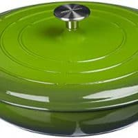 AmazonBasics Enameled Cast Iron Covered Casserole Skillet, 3.3-Quart, Green