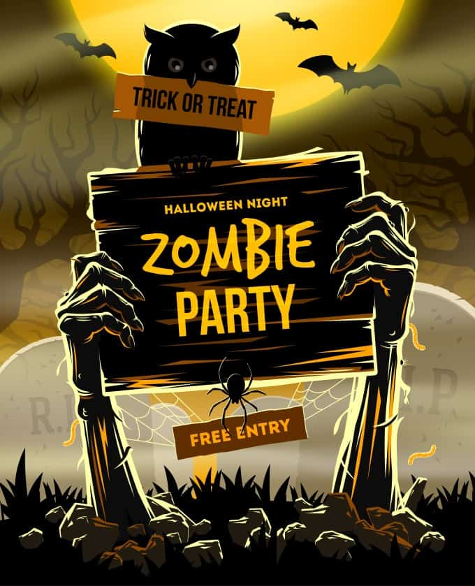Zombie Party Halloween invitations