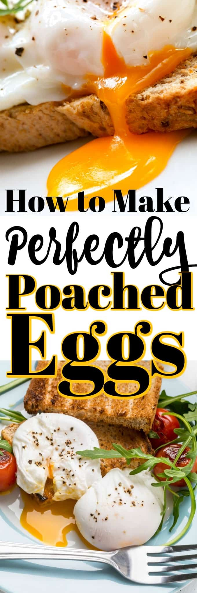 How to Make Perfectly Poached Eggs is easier than you think. Their richness adds so much to a simple breakfast to an elaborate Eggs Benedict! #poachedeggs #howto #eggs #breakfast #brunch