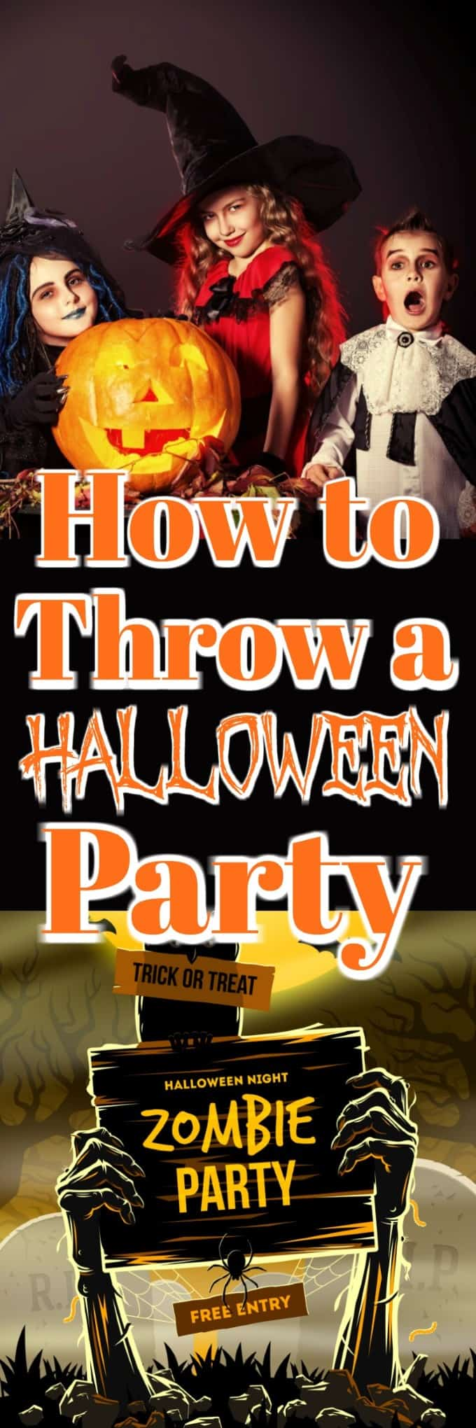 How to Throw a Halloween Party will help guide you through the activities, food, costumes, decor, music and more!! #HalloweenParty #Halloween