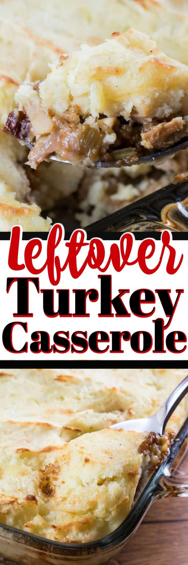 This Leftover Turkey Casserole is given new life with delicious puffy mashed potatoes. #casserole #leftoverturkey #stuffing #leftovers