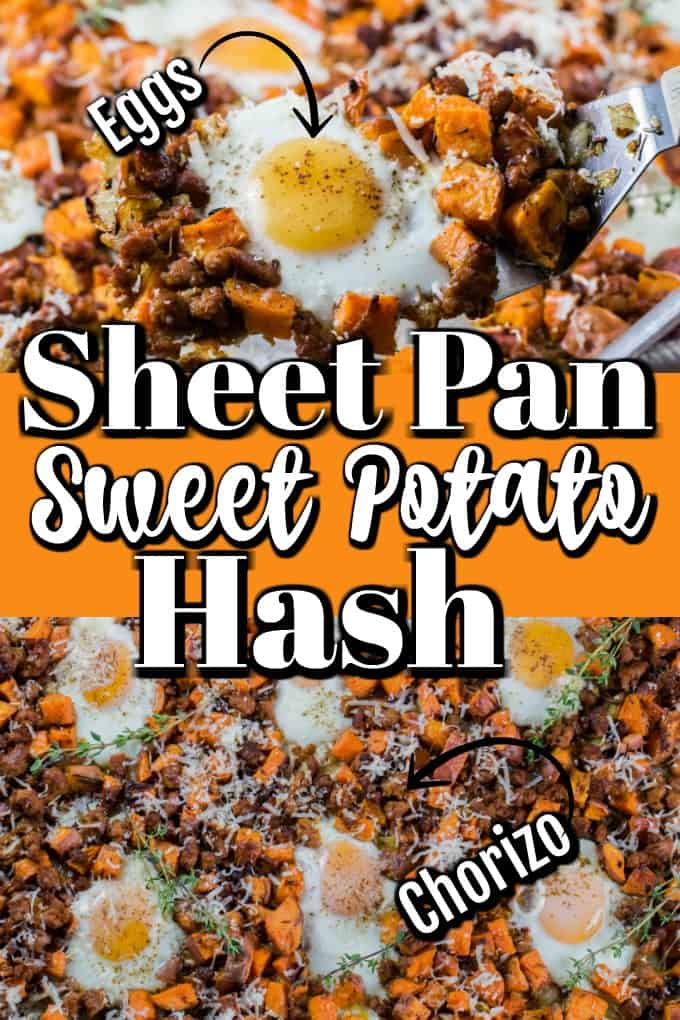Sheet Pan Sweet Potato Hash with Eggs and Sausage will be your number one easy go to for dinner!! #eggs #WorldEggDay #ad