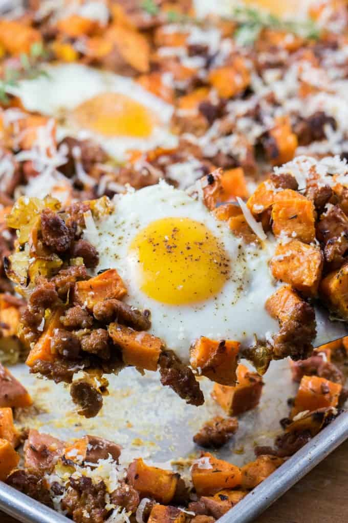 Sheet Pan Sweet Potato Hash with Eggs and Sausage