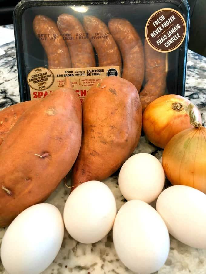 Eggs, onions, sweet potatoes and chorizo
