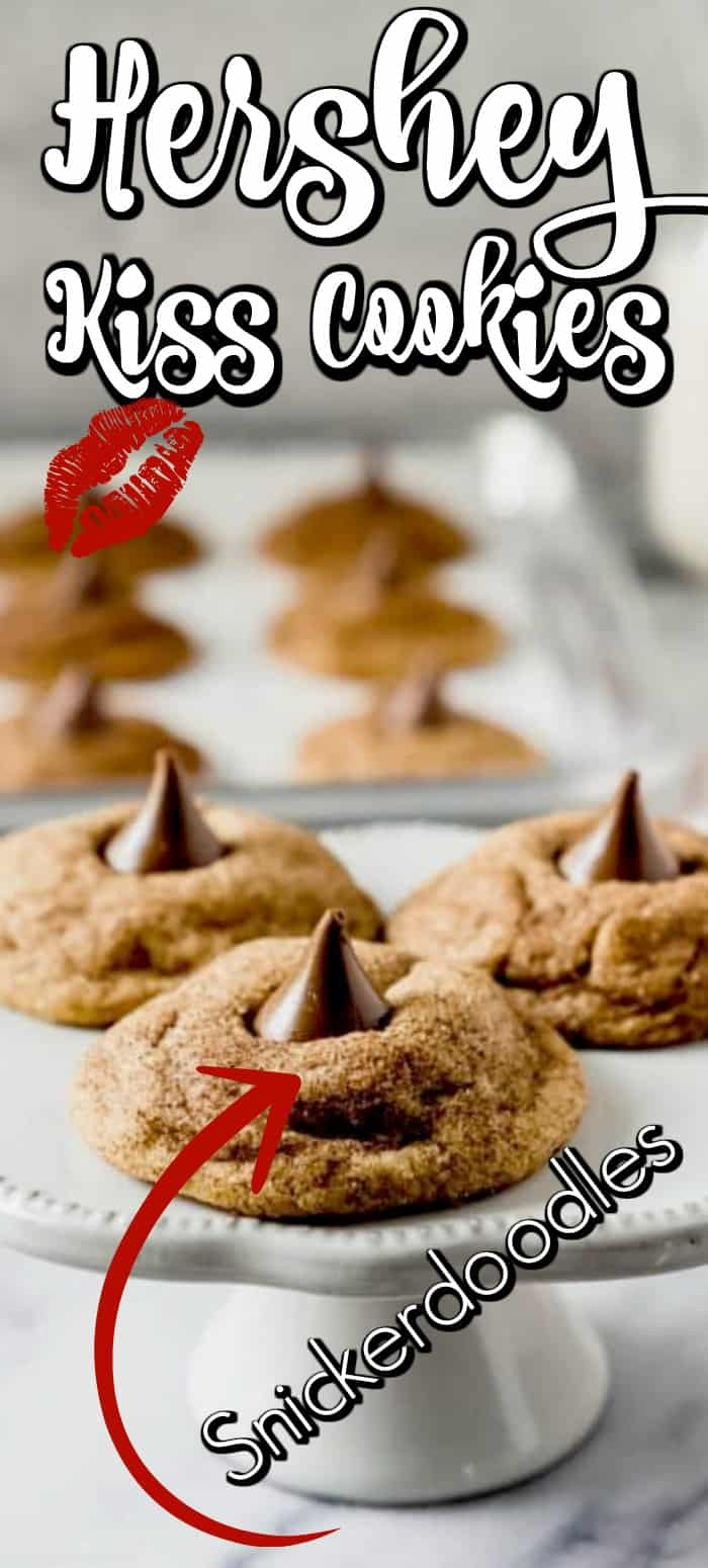 These Easy Snickerdoodle Hershey Kiss Cookies would put a smile on anyone's face and will be the first grabbed on the holiday platter of cookies! #hersheykisscookies #snickerdoodles