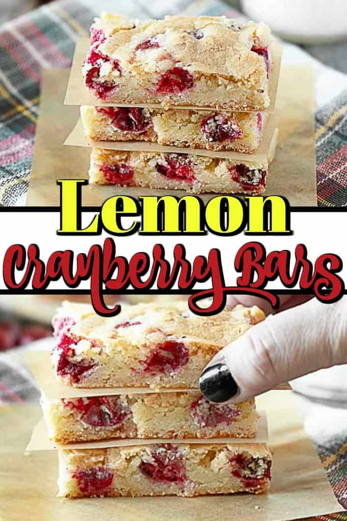 These Lemon Cranberry Bars are brownie-like in nature and are perfect for holiday entertaining!! #cranberrybars #lemon #holidaybaking
