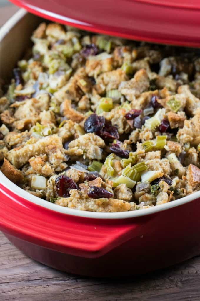 Noland's Homemade Stuffing Recipe in a red casserole