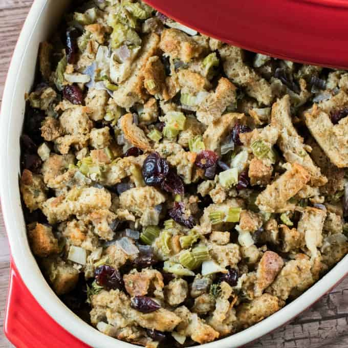 Noland's Homemade Stuffing Recipe in a red casserole, square photo