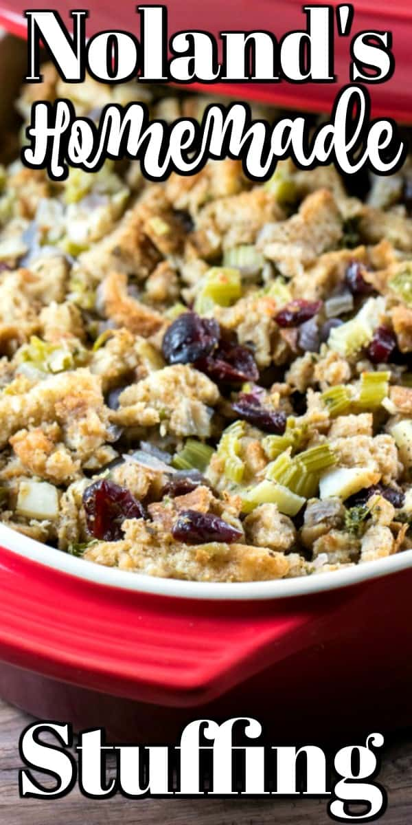 Noland's Homemade Stuffing Recipe can now be on your table for the holidays!! Stuffing is a carb lovers dream but everyone can indulge a little over the holidays!! #stuffing #recipe #casserole #holidays
