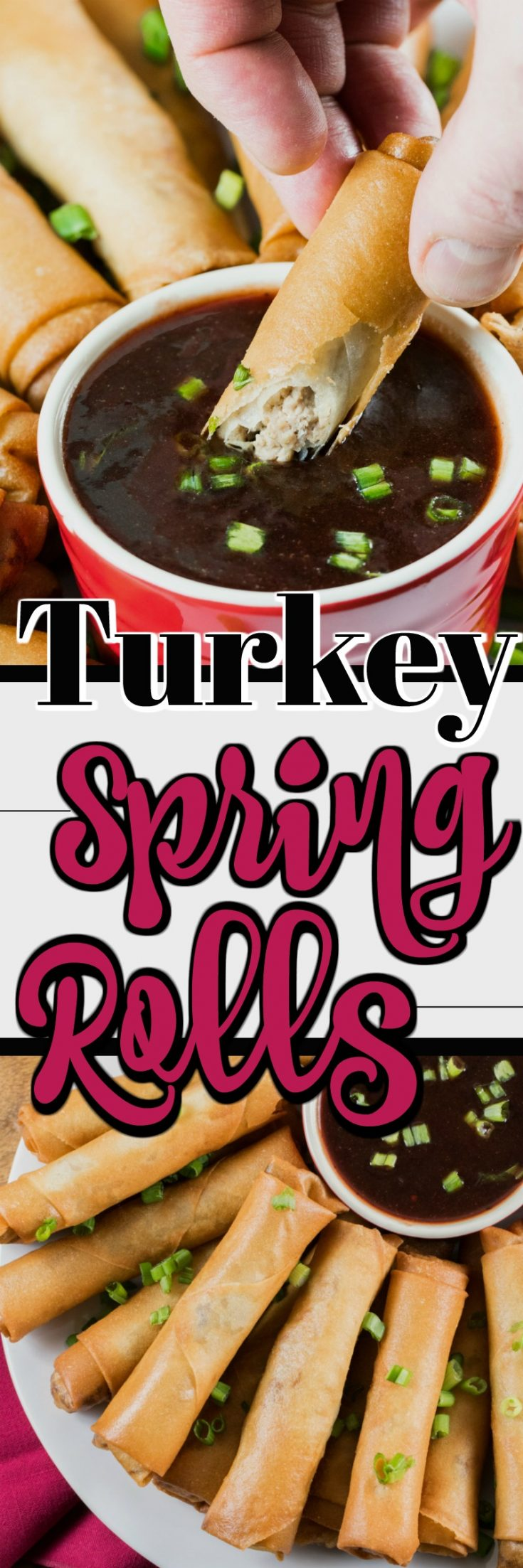 These Turkey Spring Roll Recipe with a Cranberry Dipping Sauce is perfect for the holidays for entertaining. #TurkeyTraditions #turkey #springrolls