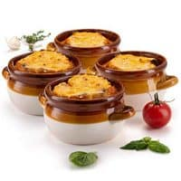 French Onion Soup Crocks, by KooK, Ceramic Make, Large Handles, Stoneware, 16oz Full Capacity