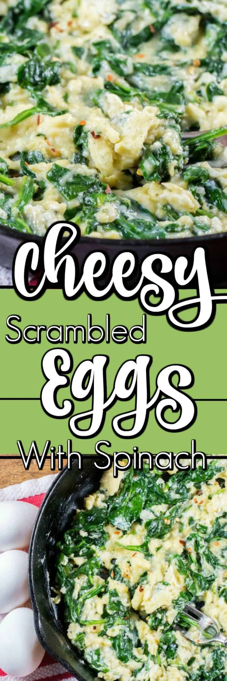 This easy meal of Cheesy Scrambled Eggs with Spinach is short on time but big on taste. Perfect fill in meal for the holidays!! #RecipesThatGive #scrambledeggs #Spinach #Parmesan #ad