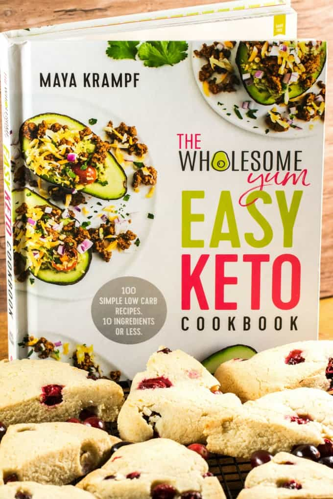 The Easy Keto Cookbook with scones in the forefront.