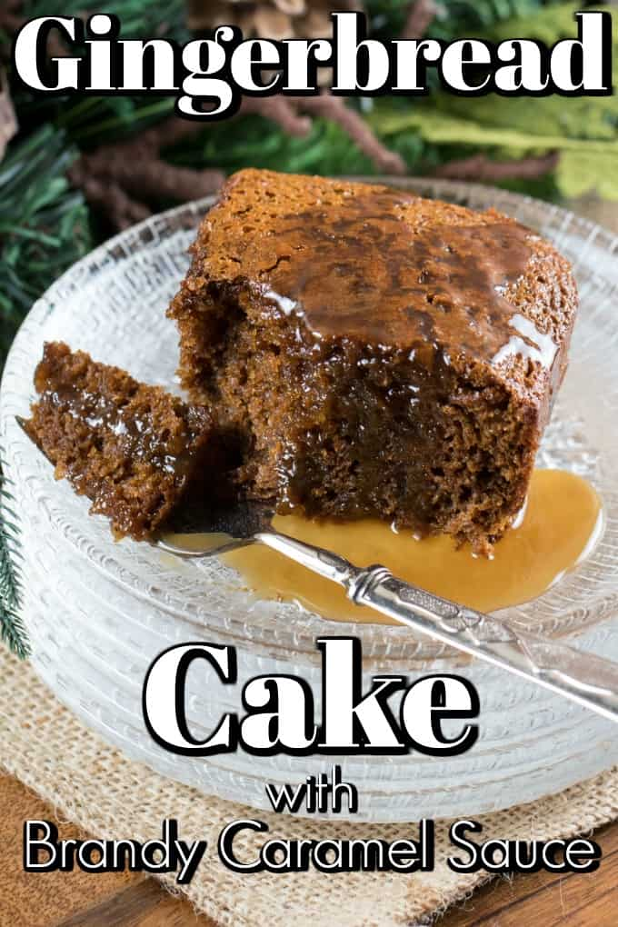 This Warm Gingerbread Cake with Calvados (apple brandy) Caramel Sauce will be a hit for the holidays. Luxurious and delicious you will want a second slice!! #gingerbread #cake #caramelsauce