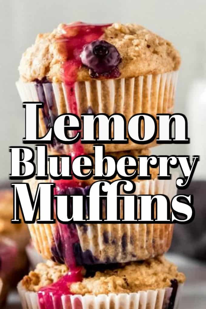 Healthy Oatmeal Lemon Blueberry Muffins with a Lemon Blueberry Glaze will get you back on track after overindulging for the holidays!! #muffins #healthy #lemon #blueberry