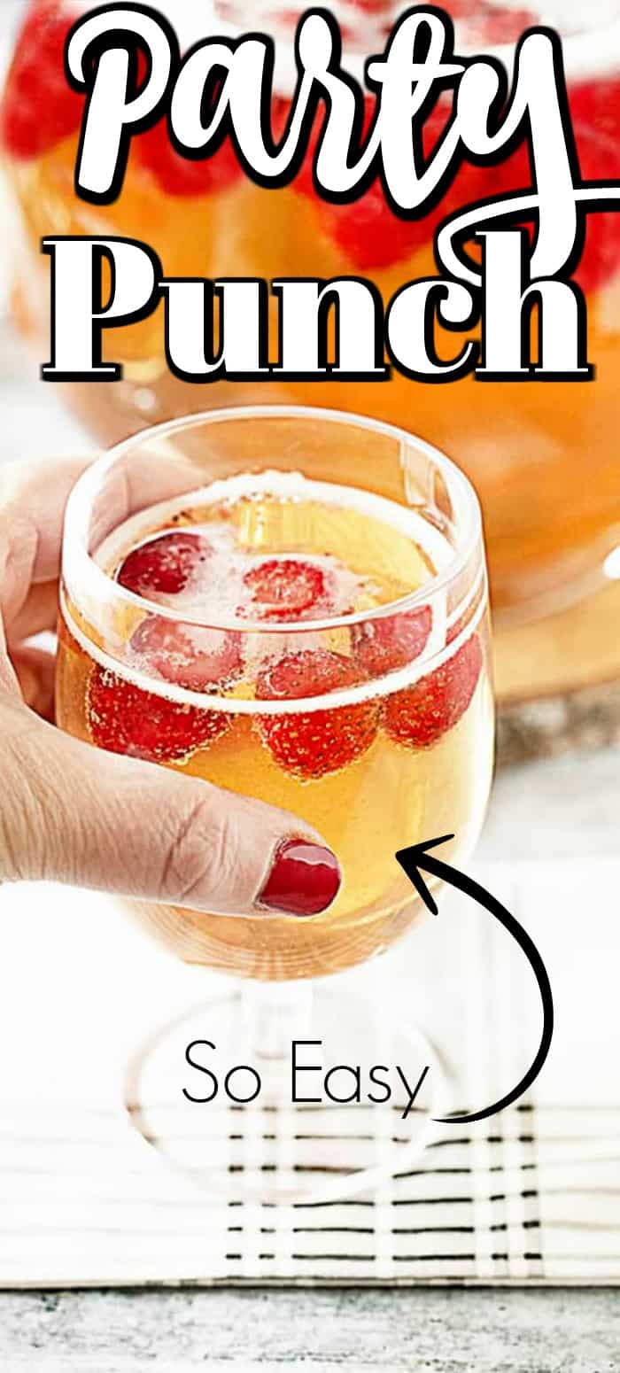 The Strawberry Champagne Party Punch Recipe will be a hit at any gathering. It takes just a couple of minutes to make!! #partypunch #strawberrychampagne