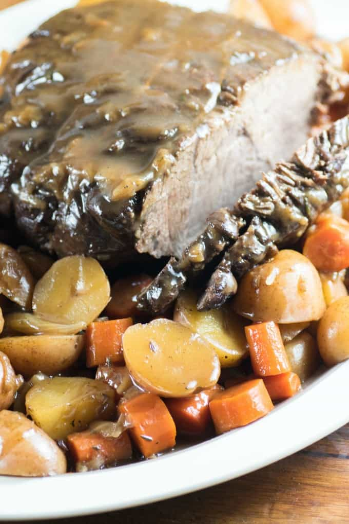 Pressure Cooker Pot Roast with vegetables on a platter