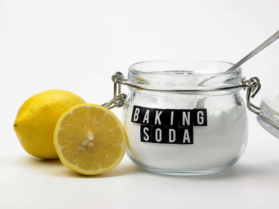 baking soda and lemon on the white background