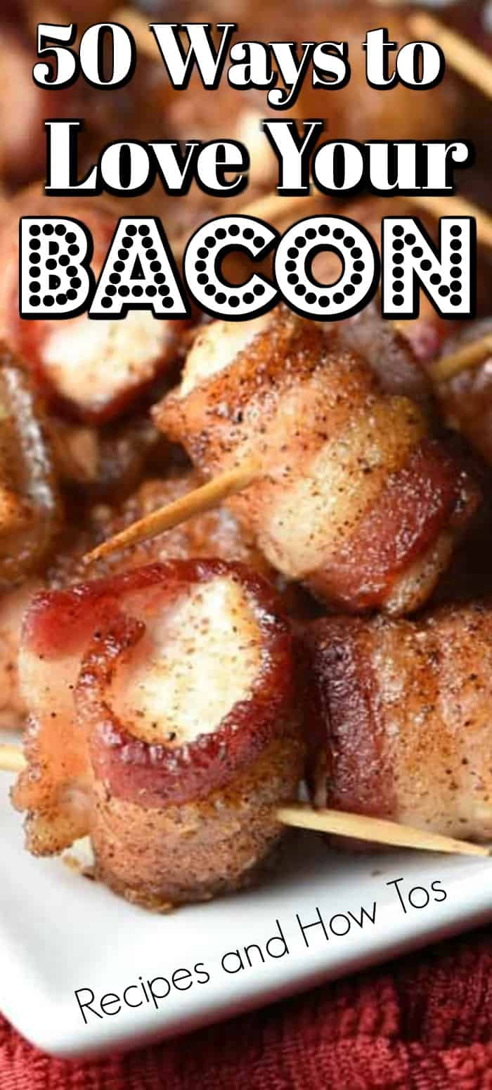 50 Ways to Love Your Bacon is the ultimate bacon lovers guide, from crisp bacon to bacon wrapped to cheesy bacon we have all the recipes and how tos for you!! #baconrecipes #bacon