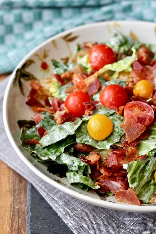 Bacon Lettuce and Tomato Salad in a white bowl